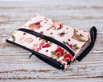 Pink Tattoo Wristlet with removable strap - Punk rock
