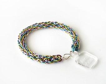 Chainmaille Bracelet - MEADOW - metal rope bracelet, chain link bracelet - seafoam, peridot, light blue, lavender