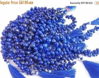 55% OFF SALE 25 Pcs of 13x8 - 7x5mm Natural undyed AAA Lapis Lazuli Faceted Tear Drop Briolette