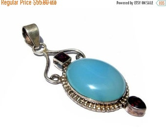 50% Off Valentine day 925 Sterling Silver Natural Garnet and Aqua Blue Chalcedony Cabochon Pendant Size 64x21mm approx