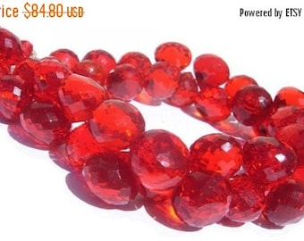 50% Off Valentine day 1/2 Strand  -  Finest Quality AAA Orange Quartz Faceted Onion Briolettes Size 9 - 11mm approx Wholesale Price