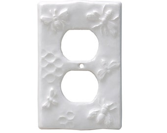 Honeybees Ceramic Duplex Outlet in Clear Gloss Glaze