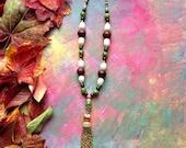 Classic Elegance Gemstone Layering Necklace with vintage metal tassel
