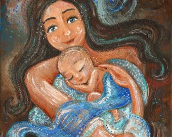 Sweet Earth, mother and newborn baby in blankests, archival signed motherhood print from an acrylic painting by Katie m. Berggren