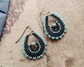 Blue Paisley Earrings, Copper Brass Teardrop Hoop Earrings, Seed Bead Jewelry