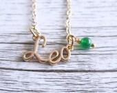 Leo Necklace Star Sign Zodiac Astrology Necklace Birth Stone Birthday Gold Jade