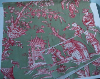 2  Pieces of Vintage Waverly Cotton Toile Fabric Raspberry on Sage