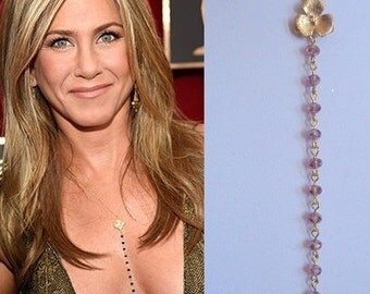 Pink Necklace, Jennifer Aniston Inspired Necklace, Gold Plated Flower Necklace,Celebrity Inspired Necklace
