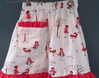 Girls Skirt Size 4T-5T Red Riding Hood, Fox and Ruffles, Pocket and Dots