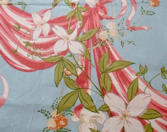 Two Panels Vintage Cotton Chintz Fabric Panels Unused - Floral Pinks on Blue