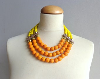 yellow orange colourful chunky necklace modern tribal statement necklace