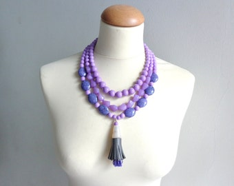 Purple tassel Statement necklace longer style multistrand