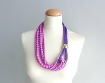 Purple silver Statement necklace longer style