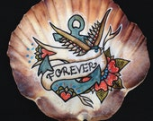 Forever, Illustrated Scallop Seashell, Hand Painted, Nautical Art, Wedding Gift, Anniversary Gift