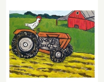 ON SALE Chicken on the farm Art Print