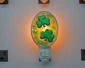 Shamrock Night Light - Double Dichroic Shamrock Nightlight - Fused Glass Dichroic Green Patterned Shamrock Night Light