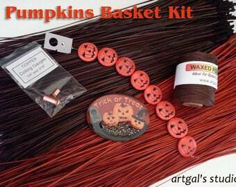 "Dyed Pine Needle Basket Kit, Halloween Theme ""Pumpkins"" Center, Wax Thread, Beads"