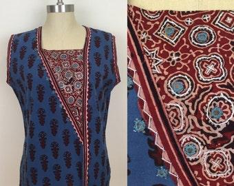 90s Blue Maroon Mirrored Hippie Sleeveless Blouse, Size Large