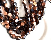 Black and Copper 10mm Faceted Fire Polish Coin Beads  25