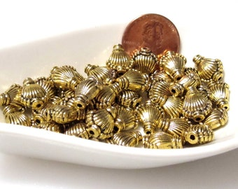 30% Off 20 pcs Antique Gold Shell, Fan Beads, 11x9x5mm with a 1mm hole, small hole bead  MB1044 AF16