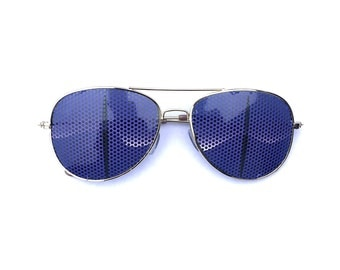 purple creature eyes graphic aviator sunglasses