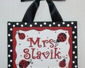 Ladybug, Teacher name sign, Teacher gift, Classroom wall art, teacher, door sign, canvas name sign, name sign, Red, Black, Classroom art