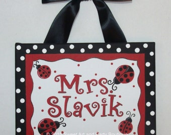 Ladybug, Teacher name sign, Teacher gift, Classroom wall art, teacher, door sign, canvas name sign, name sign, Red, Black, Classroom art