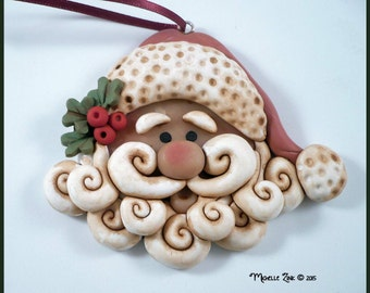 New Polymer Clay Country Santa Ornament