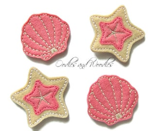 Coral Pink And Tan Seashell Felt Appliques,  Beach Felties, Tan And Coral Pink Beach Felties, Seashell Felt Appliques, Felt Seashells,