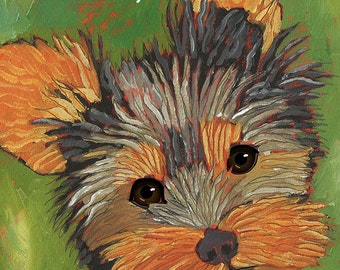 Yorkie pooped in the hall, humorous yorkie art, yorkshire terrier gifts