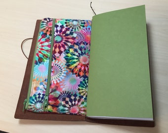 Zippered Insert for Midori Travelers Notebook, Standard Size, Personal Size, Passport Size - Crystalia Kaleidescope Opal