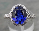 Reserve listing for Flora Stunning Royal Blue Lab Sapphire 2.99 carats 10x8mm set in 14K gold Diamond Halo ring.