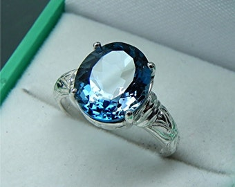 AAAA London Blue Topaz   12x10mm  5.0 Carats   Antique styled Floral 14K white gold ring MMM