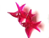 Ruby pink vintage plastic pair of swallow love birds flying and kissing brooch
