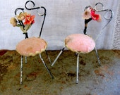 Vintage Miniature French Cafe Style Pink Chairs with Original Felt, Posies Flowers