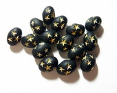 Vintage Matte Black Oval with Gold Stars 17x12mm Lucite Beads (10)