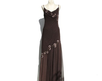 Brown Mesh Embroidery Beaded Dress / Bias Cut Long Dress