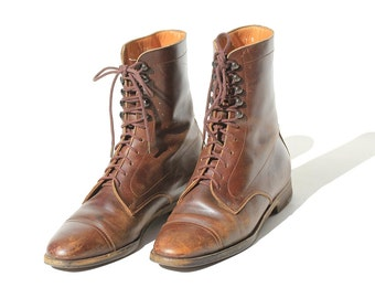 Size 7 Women's Italian Brown Leather Ankle Boots