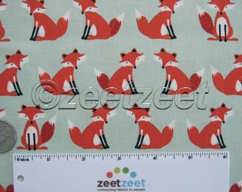"Last Piece 1.5 yds* FOX Sage Green Foxes - Cotton Quilt Fabric - Forest Friends *53"" Long by 44"" Wide"
