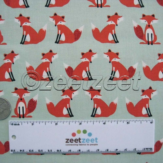 FOX Sage Green Foxes Cotton Quilt Fabric By The Yard By