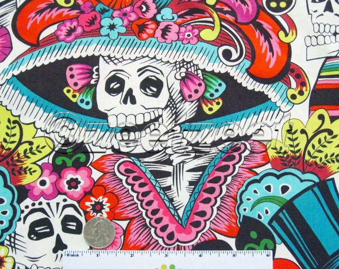 Dia De La CATRINA Natural by Alexander Henry Quilt Fabric by the Yard, Half Yard, or Fat Quarter Fq Day of the Dead Skull