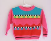 Vintage toddler girls sweater 80's pink memphis style