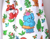 Vintage twin flat sheet with cute animals elephant monkey and lion