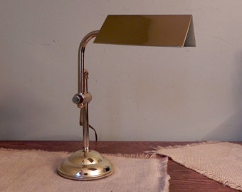 Small brass bankers lamp vintage classic