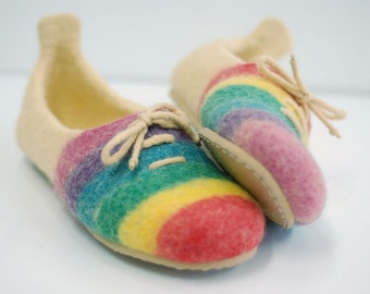 Felted  slippers made of wool striped with stripes  MADE TO ORDER, any color and size
