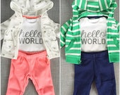 Hello World New Baby onsie Iron on decals do it yourself with Free Shipping to the USA