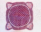 Vintage Handkerchief Purple Hankie Fruit Hanky Red Cherries