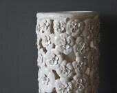 Handmade Large Pottery White Flower Dogwood Umbrella Stand Holder
