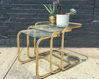 Set of Three Nesting Glam Brass Gold Cantilever Side Tables