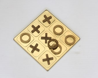 Brass Tic Tac Toe Game w/ Wood Case